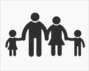 Family flat Icon Mom Dad holding hands of their children