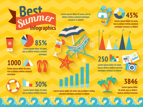 Beach Colored Infographic