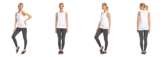 Beautiful blonde women in grey sport leggings isolated