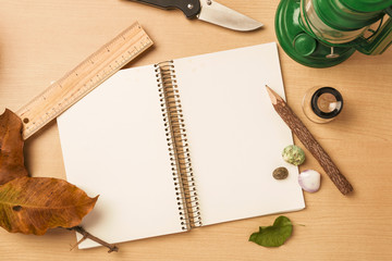 blank notebook with pencil on wooden table, Nature concept. View from above