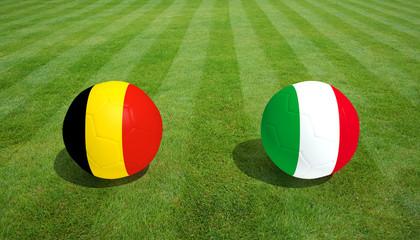 Belgium / Italy soccer game on grass soccer field 3d Rendering.