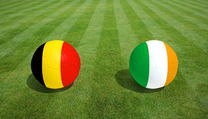 Belgium / Republic of Ireland soccer game on grass soccer field 3d Rendering.