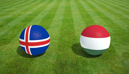 Iceland / Hungary soccer game on grass soccer field 3d Rendering.