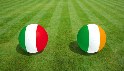 Italy / Republic of Ireland soccer game on grass soccer field 3d Rendering.