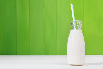 Vintage style glass milk bottle