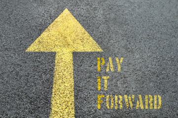Yellow forward road sign with Pay It Forward word on the asphalt