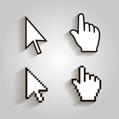 Pixel cursors icons mouse hand arrow. Illstration