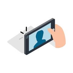 Man taking selfie photo on smartphone icon