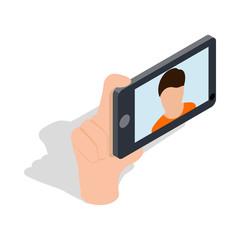 Guy taking selfie photo on smartphone icon