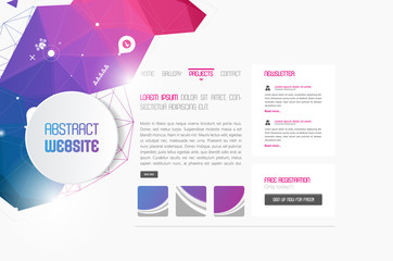 Modern website template with polygon colorful shapes abstract design,