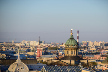 View to Admiralty, palace (Hermitage) and Peter and Paul's fortress in St.Petersburg, Russia