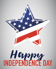 Happy Independence Day with American star isolated on gray