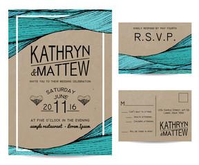 wedding invitation set with rsvp card. wavy ornament on kraft