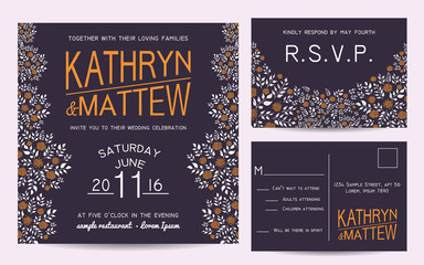 Elegant wedding invitation set with rsvp card