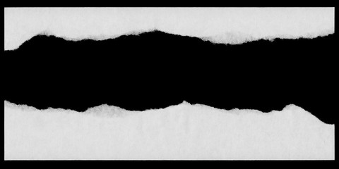 Torn White Paper Edges Isolated on Black Background