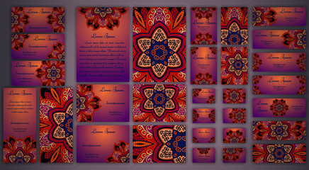 Vector visiting card set. Floral mandala pattern and ornaments. Oriental design Layout. Islam, Arabic, Indian, ottoman motifs. Front  back page.