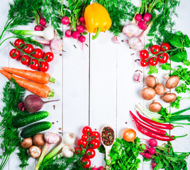 Beautiful background healthy organic eating. Studio photography the frame of different vegetables and mushrooms on the white boards with free space for you text