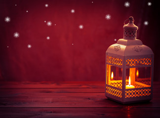 Beautiful background with a shining lantern Fanus. The Muslim feast of the holy month of Ramadan Kareem. Free space for your text