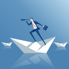 Business man on a paper boat. Business concept searching and risks