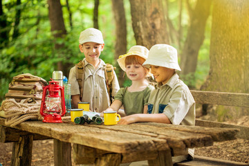 summer camps,scout children camping in nature