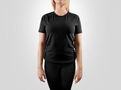 Blank black t-shirt design mockup, isolated. Women tshirt clear template front mock up. Empty female apparel uniform singlet model. Sweat tee shirt plain dress surface ready for print. Gray t shirt