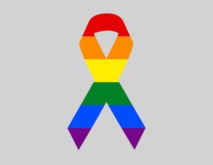 Vector rainbow flag in shape of mourning ribbon flat design. Graphic clip art illustration. LGBT community movement pride flag
