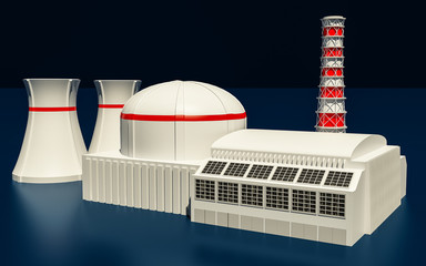 3D Illustration of Nuclear power station