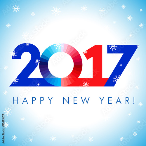 2017 happy new year red blue card. Happy holidays card with snow ...