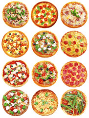 Set of different pizzas isolated on white