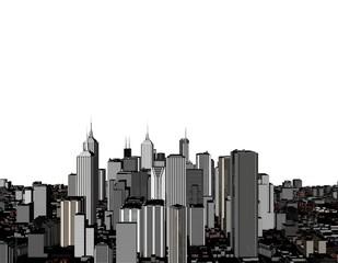3D model of city on white background. 3D rendering illustration.