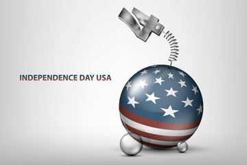 USA independence day illustration with flag and the date of the holiday