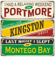 Retro tin sign collection with cities in Jamaica