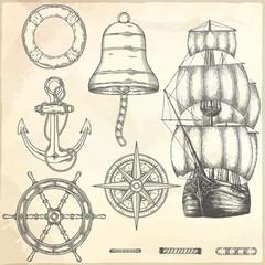 Hand drawn nautical illustrations.