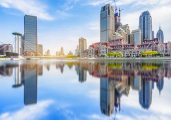 skyline of downtown district,tianjin city,china Papier Peint
