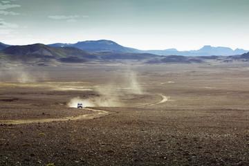 Car moving on landscape