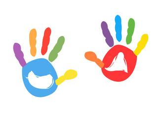 Colorful kids handprint vector illustration