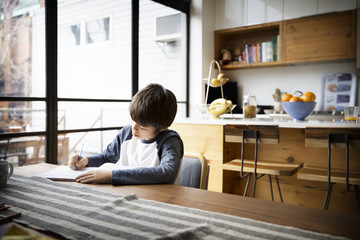 Boy writing in book on table at home