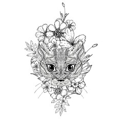 hand drawn ink doodle cat and flowers on white background. Coloring page - zendala, design for adults, poster, print, t-shirt, invitation, banners, flyers.