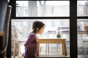 Side view of girl looking at jar on table against window