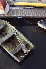 Overhead view of boat moored at lake