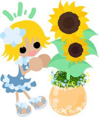 A cute little girl and a flowerpot of sunflower