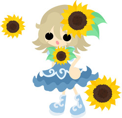 A cute little girl and a accessory of sunflower