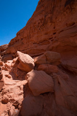 Beautiful cinematic deserted nature view under the blue cloudless sky in the American West