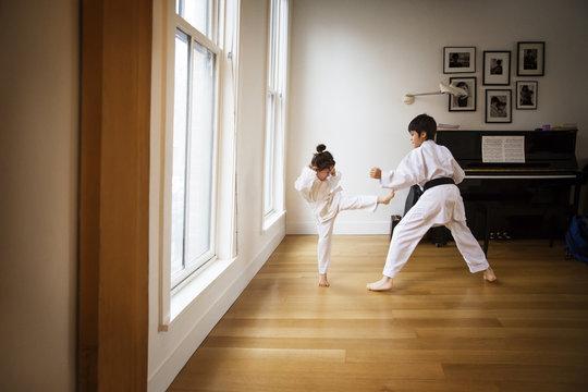 Siblings practicing karate by window at home