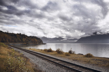 Railroad track by lake