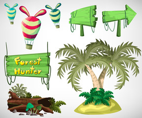 Island objects for the game and animation, game design asset. Vector flat illustrations.
