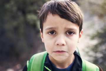 Portrait of boy with backpack