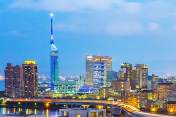 View of Hakata skyline in Fukuoka, Japan Wall mural