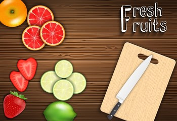 Fresh fruits slices on the table with a knife on a cutting board background