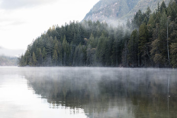 Wall Mural - Foggy morning at the lake. Forest reflection. Forest fog. Cloudy weather. Cloudy morning. Forest and mountain. Vancouver nature. Pacific North West. Nature. Nature park. Early morning. Sunrise.